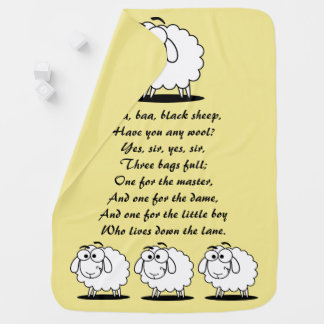 Baa Baa Black Sheep Yellow Baby Blanket