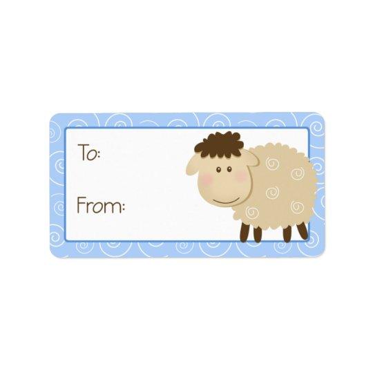 Baa Baa Sheep Blue Swirl Gift Tag Label