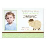Baa Baa Sheep Green *PHOTO* Birthday 5x7 13 Cm X 18 Cm Invitation Card