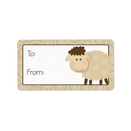 Baa Baa Sheep Tan Swirl Gift Tag Label Address Label