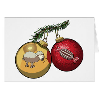 Baa Humbug Baubles Christmas Sheep & Candy Cartoon Card