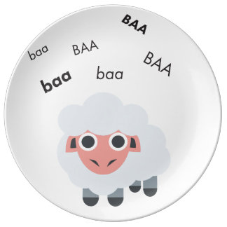 Baa Sheep Cute Emoji Plate