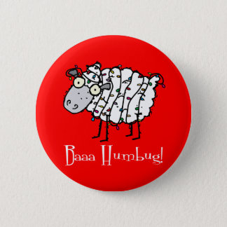 Baaa Humbug Christmas 6 Cm Round Badge