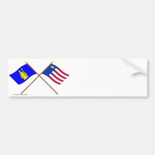 Baarle-Hertog and Baarle-Nassau Crossed Flags Bumper Sticker