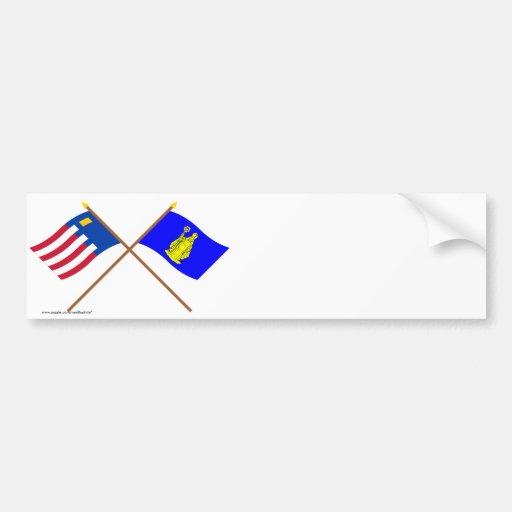 Baarle-Nassau and Baarle-Hertog Crossed Flags Bumper Stickers