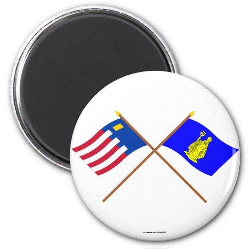 Baarle-Nassau and Baarle-Hertog Crossed Flags Fridge Magnets