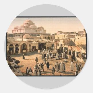Bab Suika-Suker Square, Tunis, Tunisia vintage Pho Round Sticker