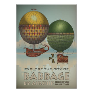 Babbage by Airship Steampunk Vintage Travel Poster
