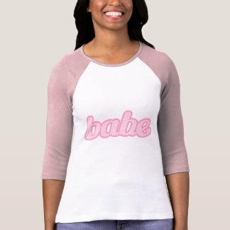 """babe"" cute denim graphic pink top tees"