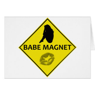 Babe Magnet Yellow Road Sign Greeting Card