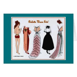 Babette Wears Erte Paper Doll Blank Greeting Card