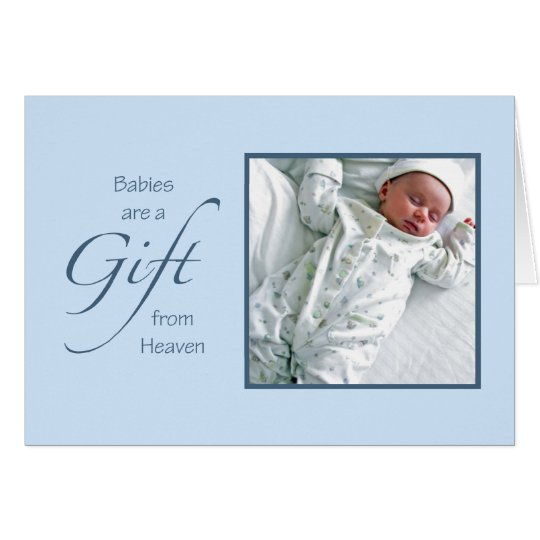Babies are a Gift Blue Photo Template