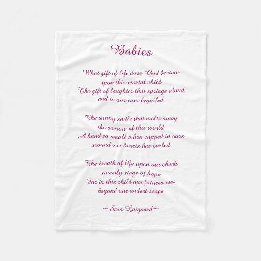 Babies poem fleece blanket