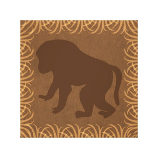 Baboon Silhouette | Facing Left | Safari Theme Stretched Canvas Prints
