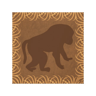 Baboon Silhouette | Safari Theme Gallery Wrapped Canvas