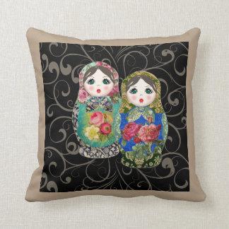 Babushka Russian Doll Colourful Bold Rose Flower 2 Cushion