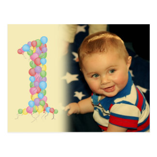 Baby 1st Birthday Balloons Thanks Photo Postcard