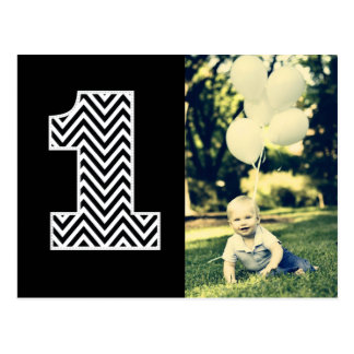 Baby 1st Birthday Chevron Thanks Photo Postcard