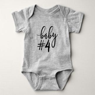 Baby #4 Black Handwritten Script Baby Bodysuit