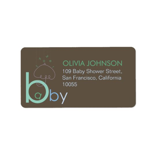"Baby ""a"" in B Boy Blue Cute Baby Shower Labels"
