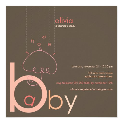 "Baby ""a"" in B Girl Pink Cute Baby Shower Invite"