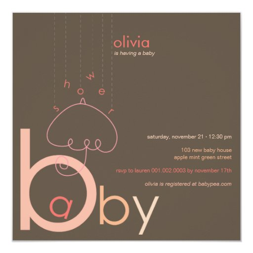 """Baby """"a"""" in B Girl Pink Cute Baby Shower Invite 13cm X 13cm Square Invitation Card"""