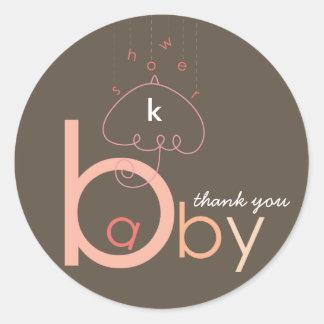 "Baby ""a"" in B | Pink Baby Girl Shower Sticker"