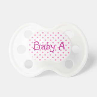 Baby A White and Pink Polka Dot Dummy