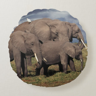 Baby African Elephant with family Round Cushion