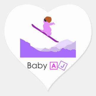 Baby AJ Boarder Heart Stickers