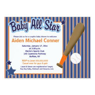 Baby All Stars Baseball and Bat Sports Invitation