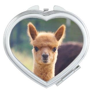 Baby Alpaca Heart Compact Mirror