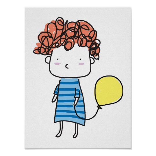 Baby and balloon Poster