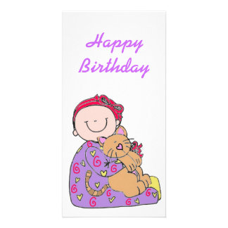 Baby and Cat Happy Birthday Photo Cards