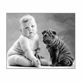 baby and dog standing photo sculpture