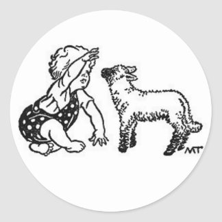 Baby and Lamb Classic Round Sticker
