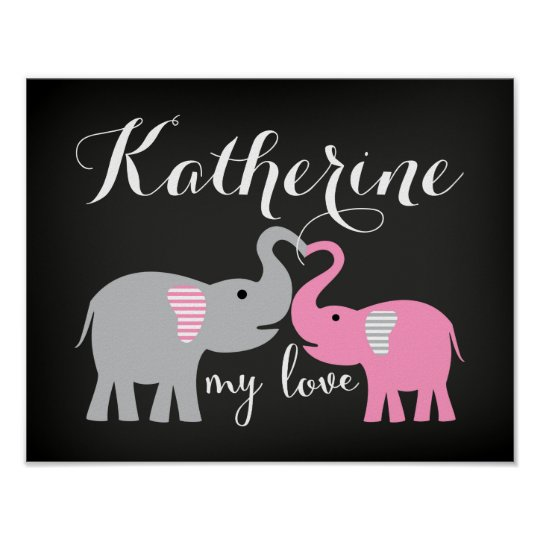 Baby and Mum Elephant Nursery Art Print Poster
