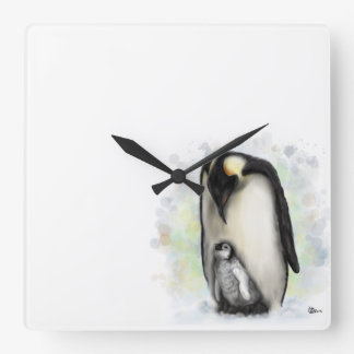 Baby and Parent Penguin Wall Clock