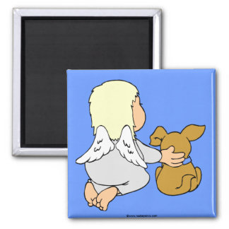 Baby angel and puppy refrigerator magnet