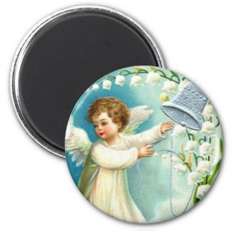 Baby Angel With Blue Bell 6 Cm Round Magnet