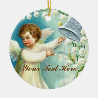 Baby Angel With Blue Bell Christmas Ornament
