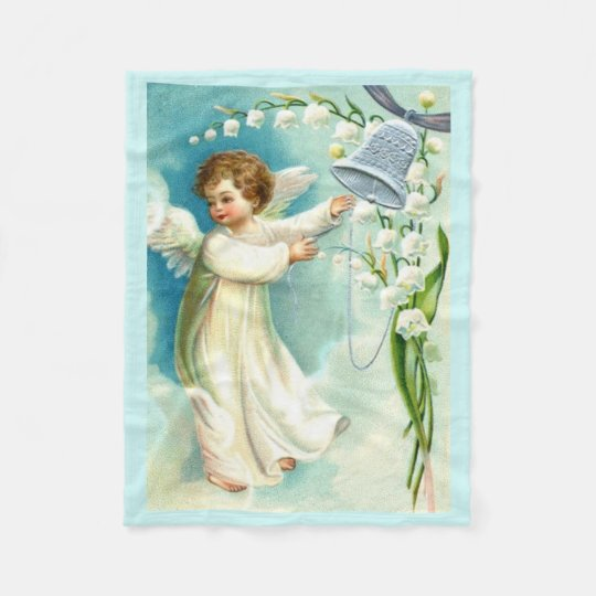 Baby Angel With Blue Bell Fleece Blanket