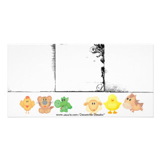Baby animals-3 borders photo greeting card