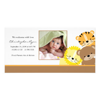 Baby Animals Baby Photo Birth Annoucement Photo Greeting Card