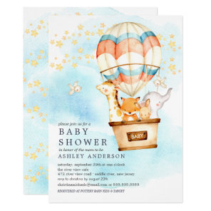 Baby Animals Hot Air Balloon Ride Baby Shower Invitation