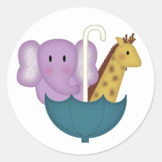 Baby Animals in an Umbrella Classic Round Sticker