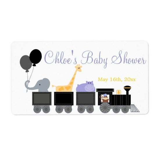 Baby Animals On A Train Baby Shower Bottle Labels