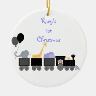 Baby Animals On A Train Ornament