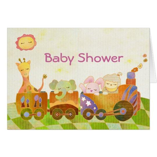 Baby Animals on Choo Choo Train: Baby Shower Card