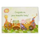 Baby Animals on Choo Choo Train: New Baby Card
